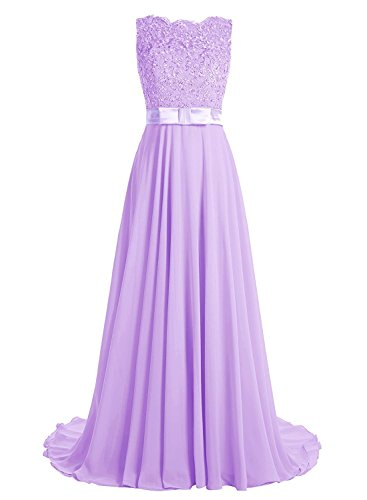(Victoria Prom Elegant Long Prom Gown Lace Bridal Dress with Flowing Chiffon Skirt Lavender us17w)