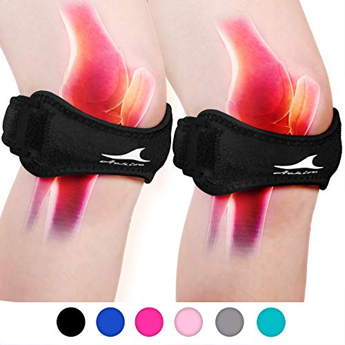 Achiou 2 Pack Patellar Tendon Support Strap, Knee Pain Relief with Silicone Adjustable Knee Band, Brace Stabilizer for Gym, Running, Hiking, Weight Lifting, Basketball, Volleyball