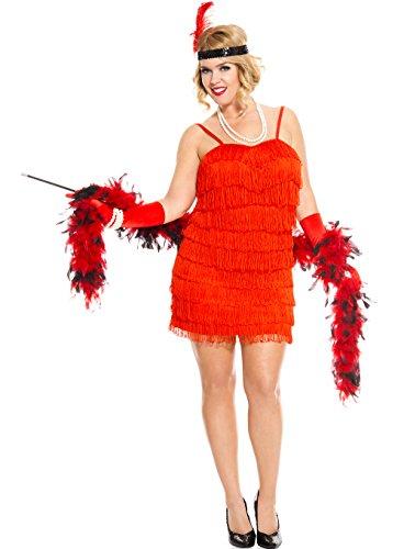 MUSIC LEGS Women's Plus-Size 1920's Flapper Plus Size, Red, -