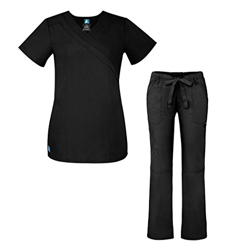 Adar Universal Women's Scrub Set - Double Mock Wrap Scrub Top and Multi Pocket Pants - 904 - Black - 2X (2 Pocket Mock Wrap)