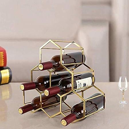 HJXSXHZ366 Estantería de Vino Estante del Vino Titular de la Botella de Vino del Metal - Los estantes del Vino Tiene Capacidad for 6 Botellas de Vino Vino Rack Estante de Vino pequeño