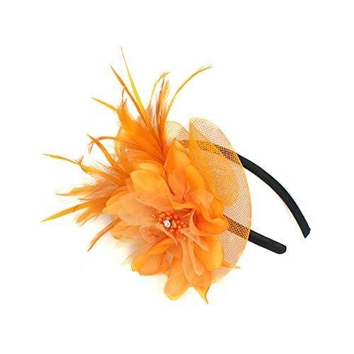 Hilary Ella Netting Feathers Big Flower Headband Party Girls Women Fascinator Headwear Cocktail Hat Head Decoration