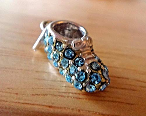 Sterling Silver 19x8mm Boy Baby Shoe Bootie with Blue Crystals Charm Vintage Crafting Pendant Jewelry Making Supplies - DIY for Necklace Bracelet Accessories by CharmingSS