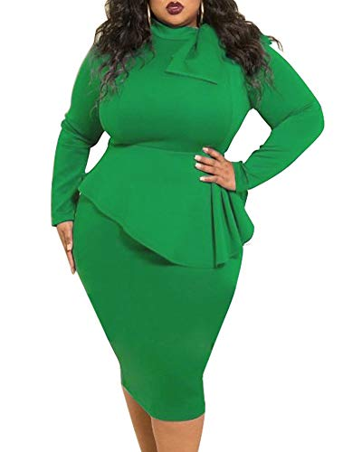 Peplum Dresses for Women Plus Size Patchwork Business Bodycon Church Formal Funeral Midi Dress Green Fall Autumn Spring Winter 2019 5X