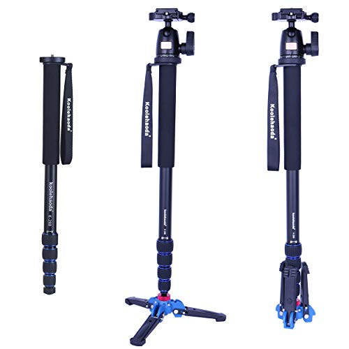 koolehaoda Camera Aluminum Monopod With Three Feet Stand Support Base & K-09 Ballhead For DSLR Camera Canon Nikon. Extended Max Height: 69-inch.