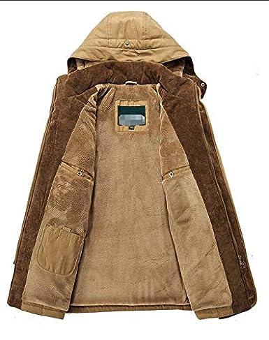 Hajotrawa Mens Outdoor Stand Collar Warm Fleece Lined Windproof Hooded Parkas Coat