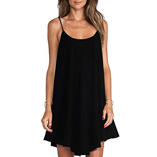 ZSIIBO Women's Sleeveless Spaghetti Strap Cami Tunic Dresses Casual Vest Dress Swing Dress V Neck Back Mini Dresses LYQ05 (Black, M)