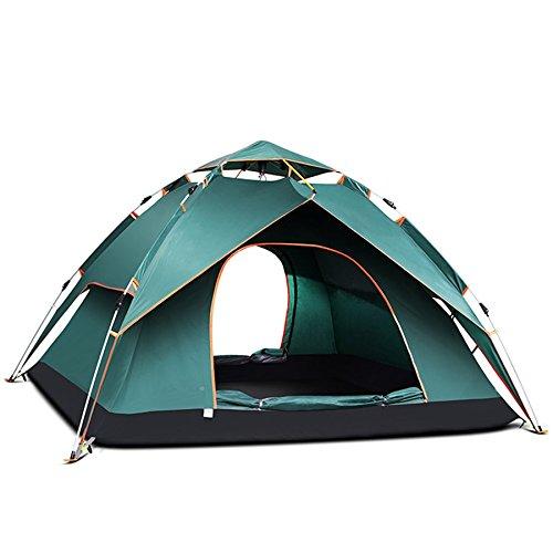 ESHOWODS 3-4 Personen Familienzelt Pop-Up-Zelte für den Außenbereich, Doppeltüren mit Moskitonetzen, Lichthaken, Tasche, 240 x 210 x 135 cm, Dunkelgrün