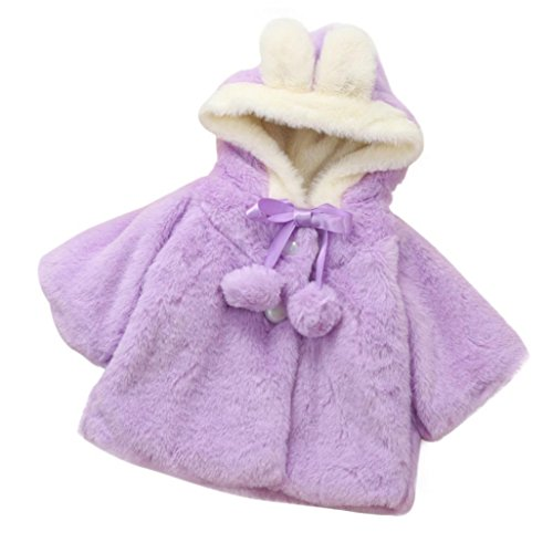 Lywey Baby Infant Girls Autumn Winter Fur Hooded Coat Cloak Jacket Thick Warm Rabbit Clothes (24M, - Girl Prince New On