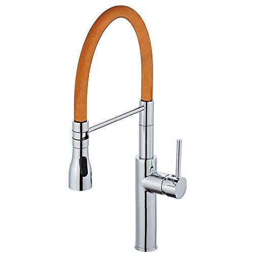 CZOOR Küche Feder Armatur verchromt poliert Waschbecken Mischbatterie Deck montiert Heiß Kalt wasser Kran tippen, Orange