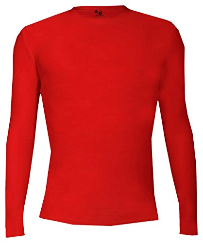 Badger Youth Pro-Compression Long Sleeve Crew, Red, Large