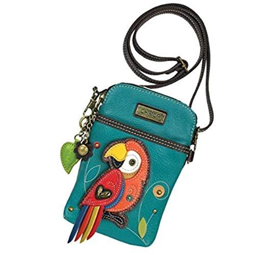 Chala Crossbody Cell Phone Purse-Women PU Leather Multicolor Handbag with Adjustable Strap - Red Parrot (Strap Bag Handbag Purse)