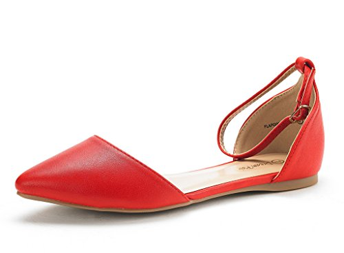 DREAM PAIRS Women's Flapointed-New Red Pu D'Orsay Ballet Flats Shoes - 10 M US