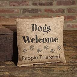 Small Burlap Dogs Welcome Pillow (8x8\