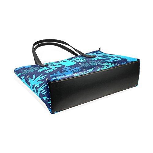 COOSUN Blue Sea Coral Muster PU Leder Schultertasche Handtasche und Handtaschen Tasche für Frauen eecpUpS