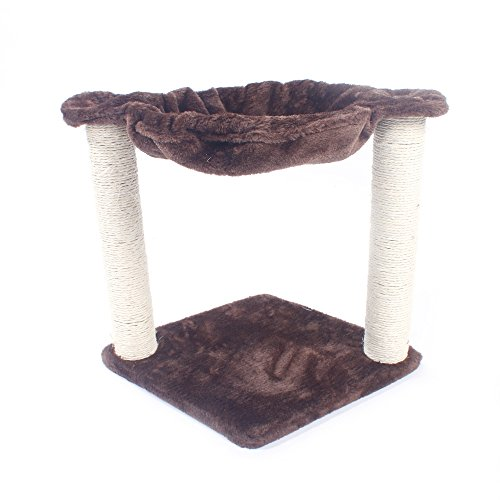 DAMEING 16Inch Pet Cat Tree Cat Scratching Post and Hammock Cat Tree Tower for Climbing Relaxing and Playing Plush Cat Furniture Bed for Cats & Kittens