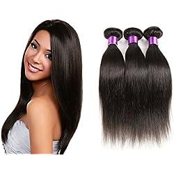 3 Bundle Virgin Straight Hair Human Hair Extension Brazilian Hair Unprocessed Natural Black (16''18''20'')