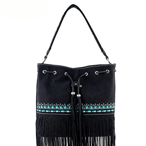 Montana West Tote Purse Suede Leather Fringe Tribal Design Black