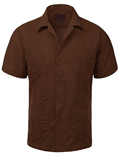 vkwear Guayabera Men's Cuban Beach Wedding Short Sleeve Button-up Casual Dress Shirt (2X-Large, Chocolate Brown) Button Down Chocolate Apparel