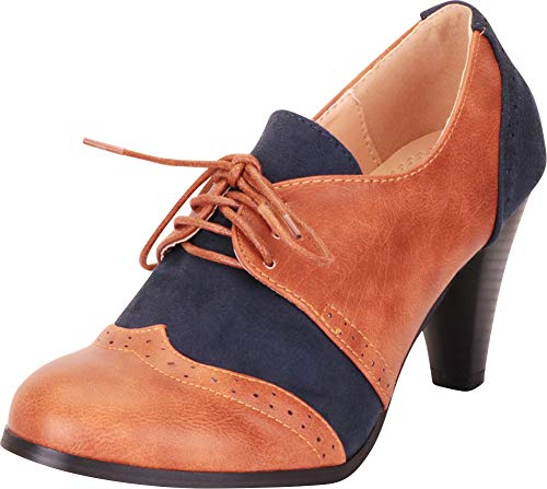 Cambridge Select Women's Retro Pinup Vintage Inspired Lace-Up Chunky Heel Wingtip Oxford,8 B(M) US,Cognac PU/Navy IMSU