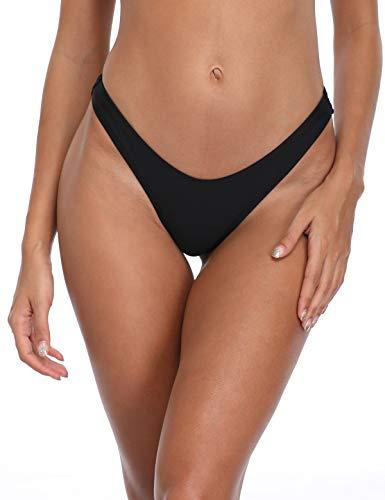 RELLECIGA Women's Black High Cut Thong Bikini Bottom Size Large