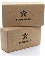 BODYMATE set van 2 yogablokken van 100% ecologisch natuurlijk kurk, ondersteuning voor alle asana's, meditatie & ontspanningsoefeningen, voor beginners & professionals, 22 x 12 x 7,5 cm