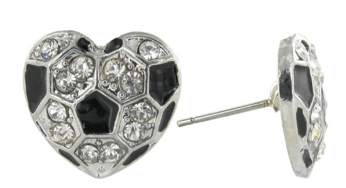 I Love Soccer Mini Heart Shaped Rhinestone Stud Earrings - with Clear Crystals and Black Enamel