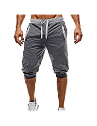 HGWXX7 Shorts for Men Casual Relaxed Fit Sport Fitness Jogging Elastic Stretchy Cotton Bermuda 3/4 Short Pants