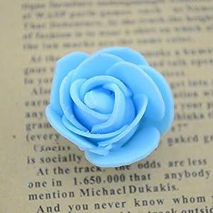 FairOnly100pcs/lot Artificial Rose Flowers Mini PE Foam Rose Flower Head Handmade DIY Wedding Home Decoration Festive & Party Supplies Sky Blue 39