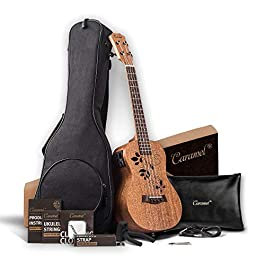 Caramel CT417 All Solid Mahogany Butterfly Style Tenor Acoustic Electric Ukulele with Extra strings, Padded Gig Bag…