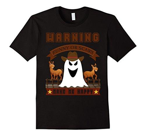 Mens Cowboy T-shirt Halloween Funny or Scary costume ideas shirt 3XL Black