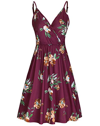 STYLEWORD Women's V Neck Floral Spaghetti Strap Summer Casual Swing Dress with Pocket(Floral08,L)