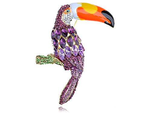 [Alilang Womens Golden Tone Purple Rhinestones Tropical Toucan Parrot Bird Brooch Pin] (Parrot Costume Female)