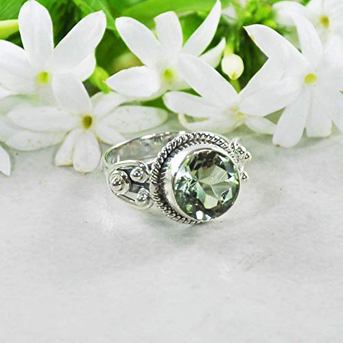 Sivalya 925 Sterling Silver 10mm Round Cushion Cut Natural Green Amethyst Gemstone Handcrafted Ring - Size 7