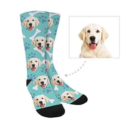 Print Custom Dog - Custom Personalized Printed Photo Socks, Turn Your Picture Face into Dog Paw Print Bone Crew Socks for Women Men