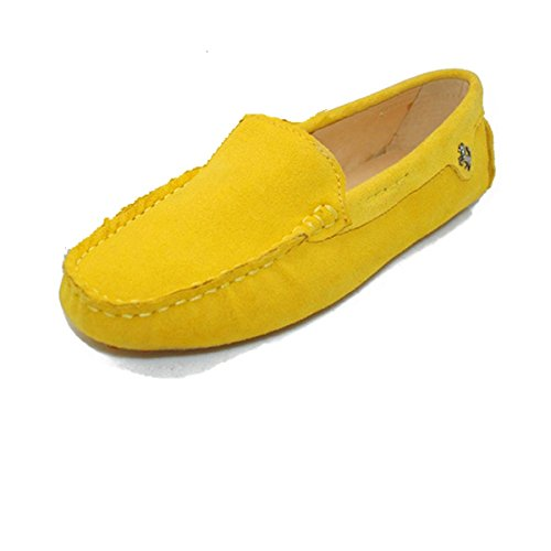 Goeao Women Casual Comfortable Basic Suede Leather Driving Moccasins Flats Slip-ONS Boat Loafers Yellow