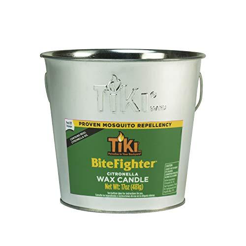 Tiki Brand 1418014 17 oz. BiteFighter Galvanized Citronella Wax Candle Metal Bucket Silver Torch, 5.00, ()