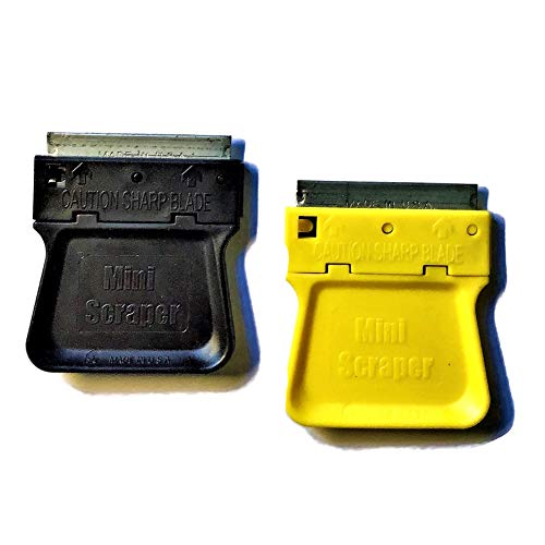 MINISCRAPER 2 Mini Razor Blade Scrapers with 5 Metal Blade Pack USA Made (Fastest Way To Remove Rust From Metal)