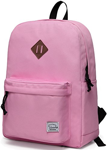 VASCHY Lightweight Backpack for School, Classic Basic Water Resistant Casual Daypack for Travel with Bottle Side Pockets -