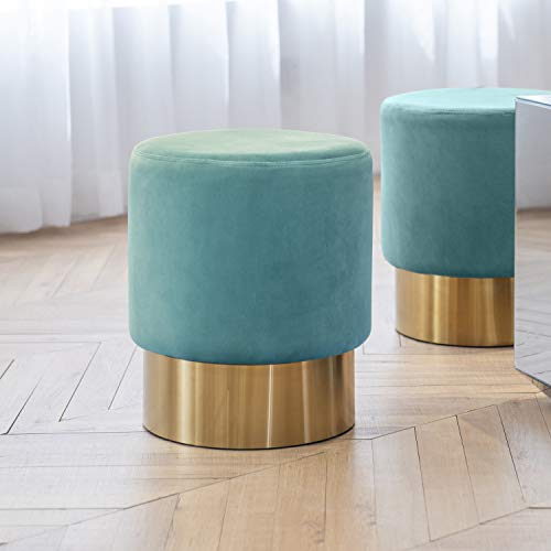 Art Leon Small Round Velvet Ottoman, Upholstered with Gold Plating Base Footstool Rest Extra Seat, Pack of 1 (Water Green) (Art Metal Benches)