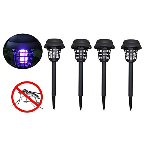 (Naiflowers 4PC Solar Powered Mosquito Zapper Bug Killer Insect Killing Lamp Indoor Outdoor Ground Backyard Garden Patio Lawn Camping Cordless Solar Powered Pest Light Best Stinger Mosquitoes Moth Fly )