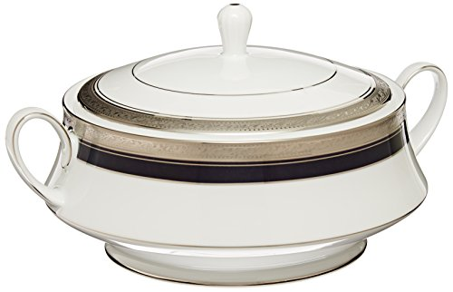 Noritake Crestwood Cobalt Platinum Covered Vegetable Bowl (Bowl Vegetable Round Covered Platinum)