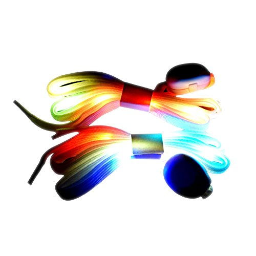COODO CD1001 LED Light Up Shoelaces Flashing with 7 Rainbow Colors 4 Modes