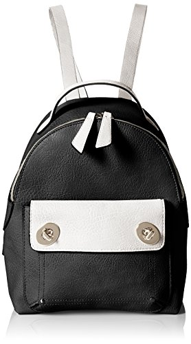 T-Shirt & Jeans Two-Toned Backpack with Turn Locks, Black