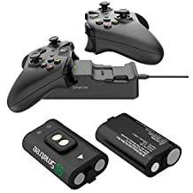 Smatree 2000 mAh Rechargeable Battery (2 Packs ) + Dual Charging Station High Speed Docking Compatible for Xbox One/Xbox One X/Xbox One S/ Xbox One Elite Wireless Controller