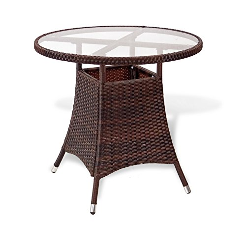 Patio Resin Outdoor Wicker Round 31.5 Inches Dining Table w/Glass Top. Dark Brown