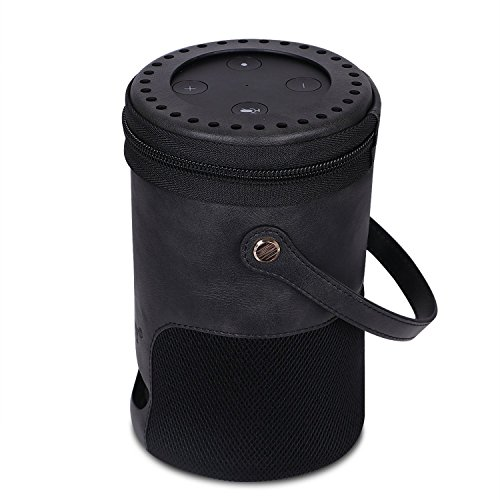FYY Case for Amazon Echo (fits Amazon Echo 2nd Generation only) Premium PU Leather Cover Sleeve with Hand Strap Black by FYY