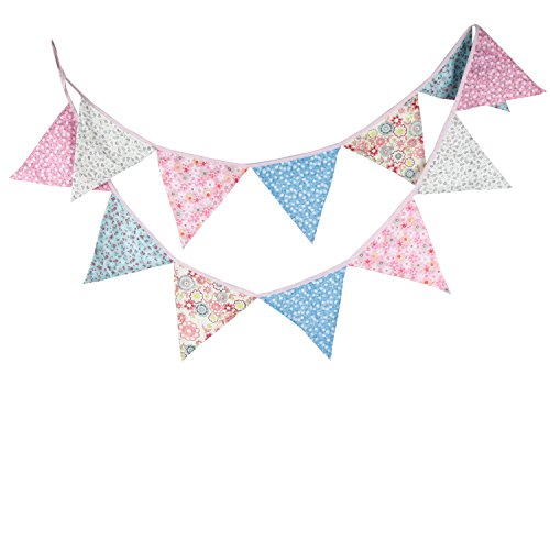 INFEI 3.2M/10.5Ft Multicolored Vintage Floral Triangle Flags Fabric Banner Bunting Garlands for Wedding, Birthday Party, Outdoor & Home Decoration (Pink & Blue)