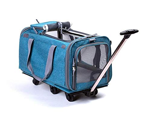 bluee Large Trolley with Integrated Trolley and Telescopic Handle Rolling Backpack,bluee