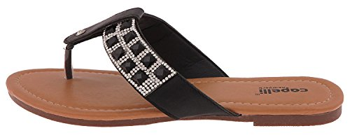 Capelli New York Faux Lær T-stropp Thong Damene Flip Flop Svart